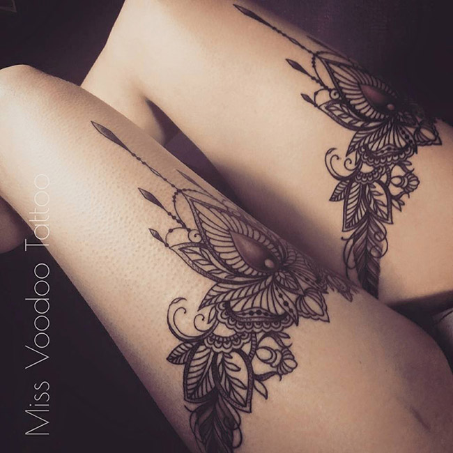 les tatouages dentelles de miss voodoo inkage. Black Bedroom Furniture Sets. Home Design Ideas
