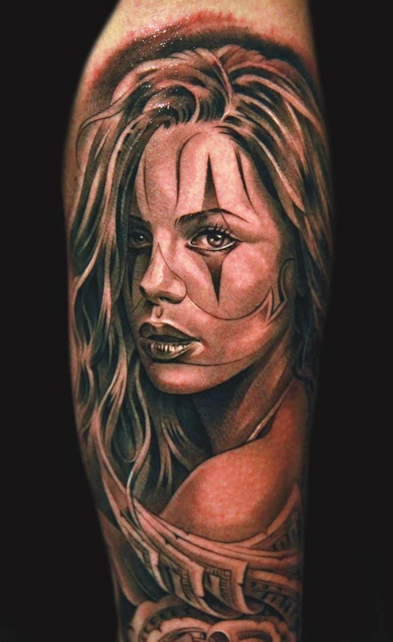 Tattoo D Un Portrait De Femme Realiste Inkage