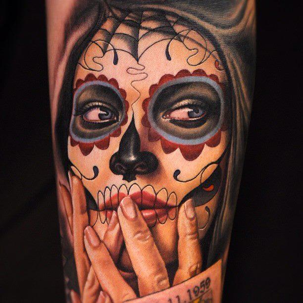 Un tattoo de santa muerte inkage - Santa muerte tatouage signification ...
