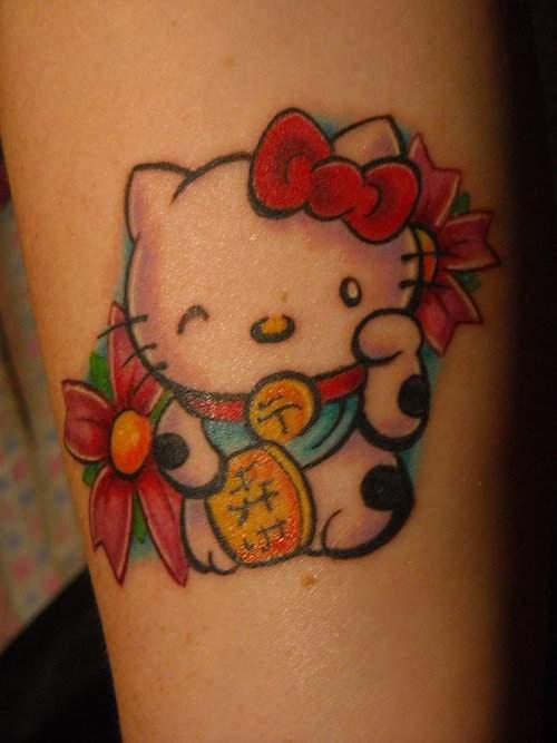 Tatouage hello kitty avec un ruban | | Inkage