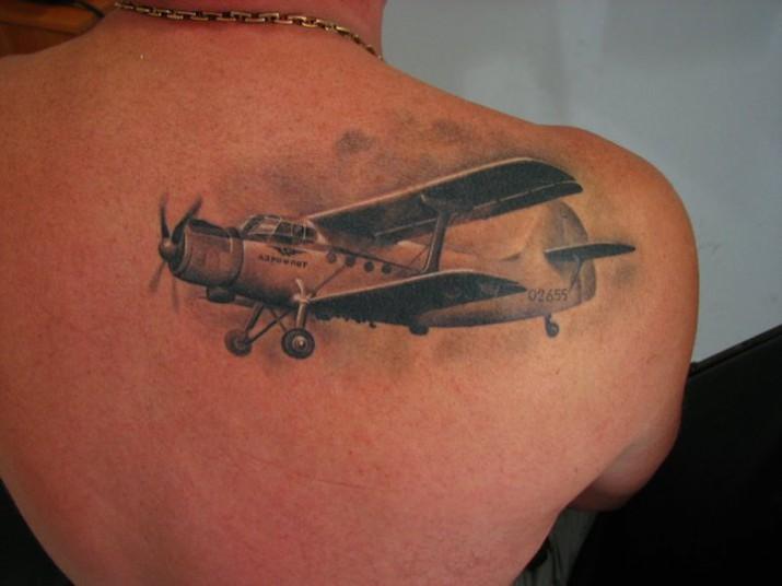 Avion biplan inkage - Avion en papier tatouage ...