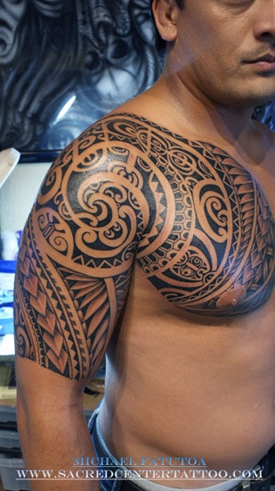 tatouage maori polyn sien torse et bras inkage. Black Bedroom Furniture Sets. Home Design Ideas
