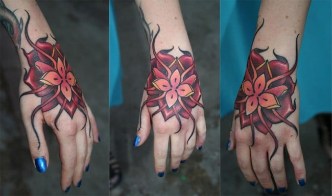 Tatouage Orchidee Mandala En Couleur Sur La Main Inkage