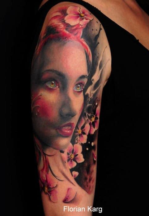 tatouage visage femme avec fleur rose inkage. Black Bedroom Furniture Sets. Home Design Ideas