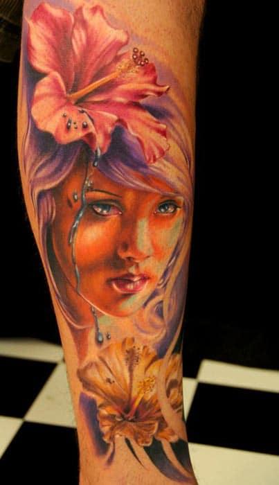 Tatouage Portrait D Une Femme Avec Des Orchidees Inkage
