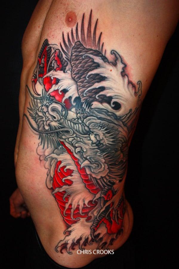Tatouage Japonais Dragon Sur Le Flan Inkage