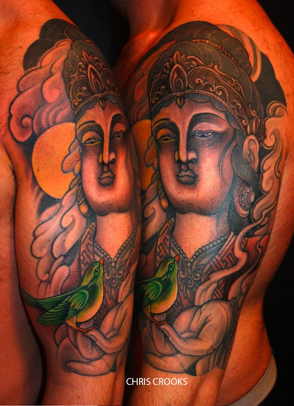 tatouage japonais bouddha avec un oiseau sur le bras inkage. Black Bedroom Furniture Sets. Home Design Ideas