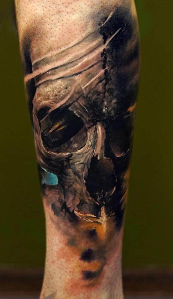 Tatouage D Une Tête De Mort En Couleur Sur Le Bras Inkage