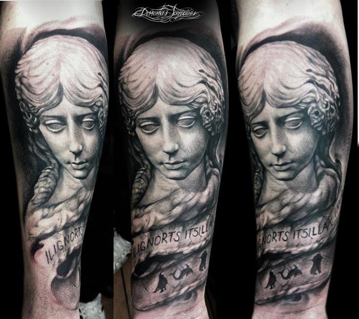 Tatouage Statut Portrait Homme Sur Le Bras Inkage