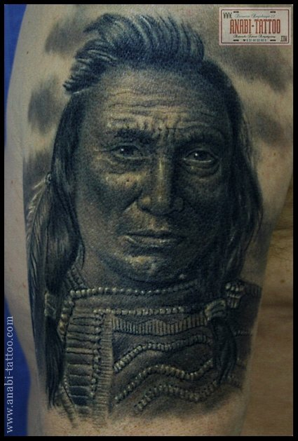 tatouage portrait d un homme indien inkage. Black Bedroom Furniture Sets. Home Design Ideas