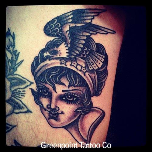 tatouage old school visage femme et aigle inkage. Black Bedroom Furniture Sets. Home Design Ideas