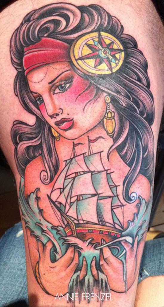 tatouage portrait d une femme devant un bateau inkage. Black Bedroom Furniture Sets. Home Design Ideas