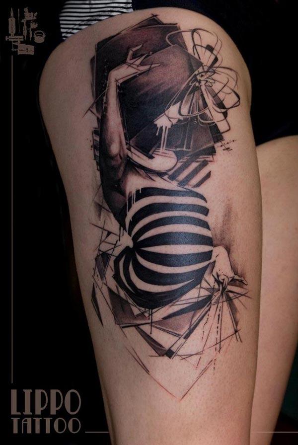 Tatouage Abstrait Livre Et Corps De Femme Inkage