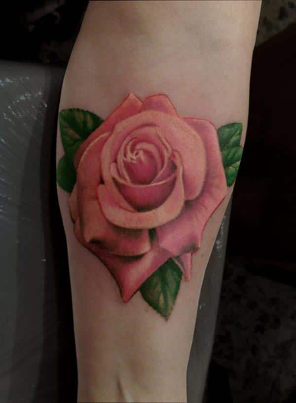 tatouage fleur rose sur le mollet inkage. Black Bedroom Furniture Sets. Home Design Ideas