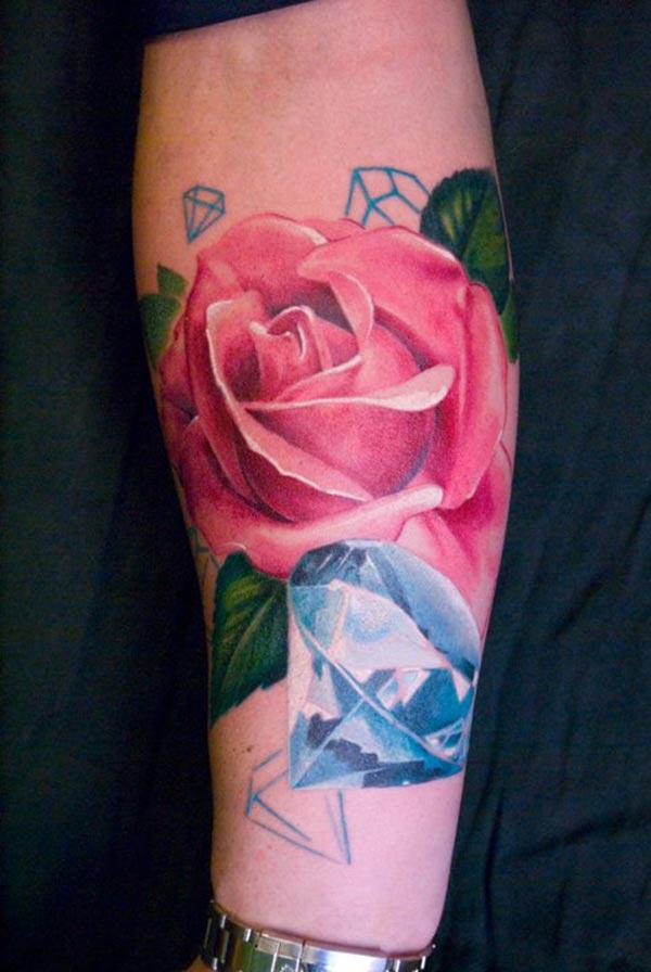 Tatouage diamant et fleur inkage - Tatouage fleur couleur ...