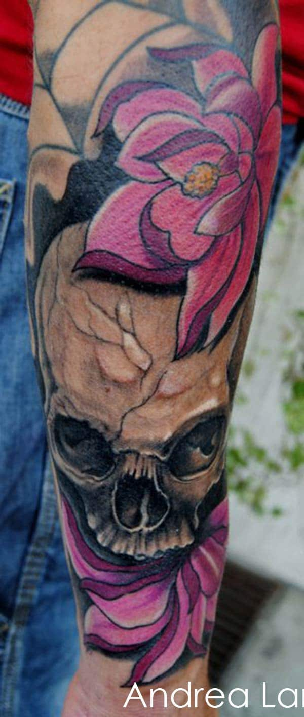 tatouage tete de mort rose