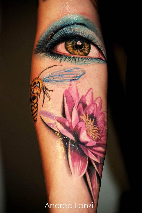 Tatouage Abeille Lotus Et Oeil Inkage