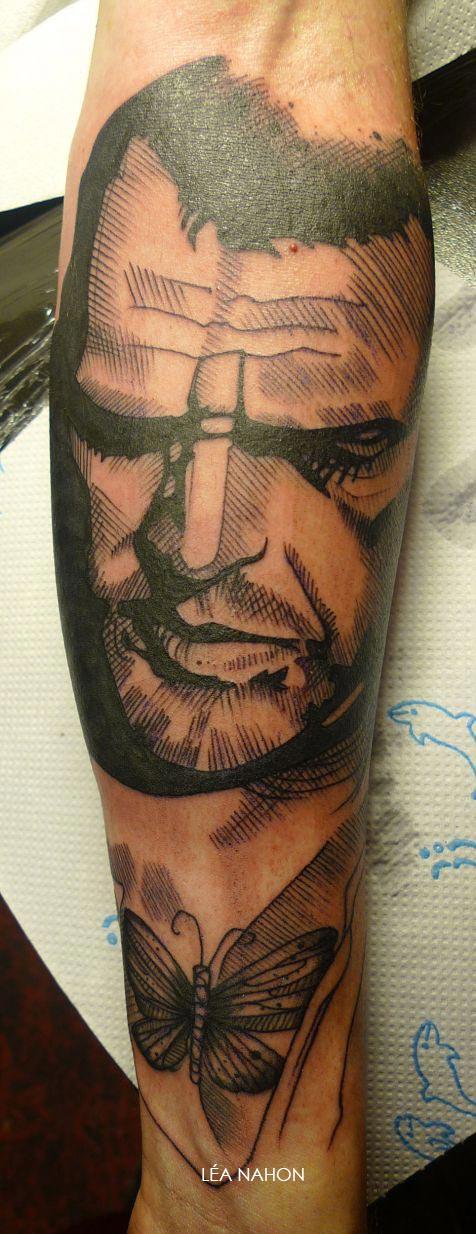 un tatouage graphique avec le portrait d un homme inkage. Black Bedroom Furniture Sets. Home Design Ideas