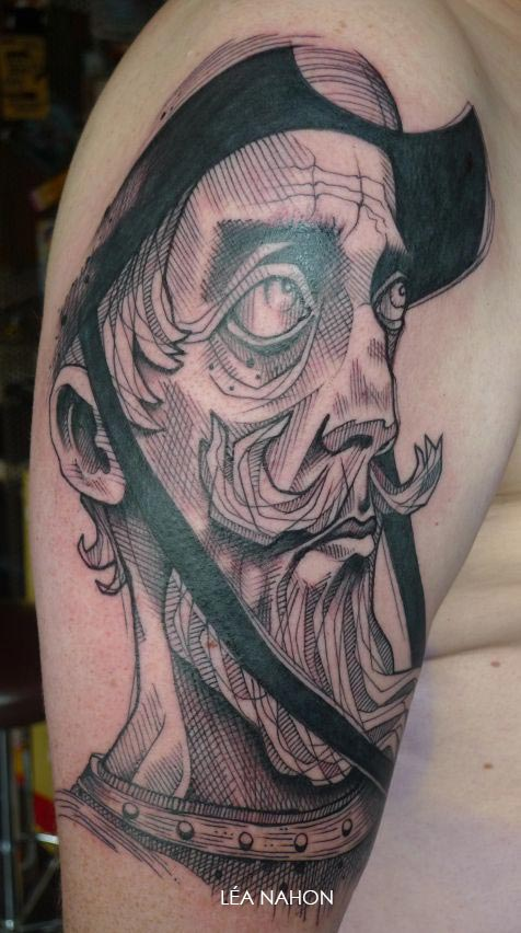Tatouage Graphique Portrait Homme Brabu Inkage