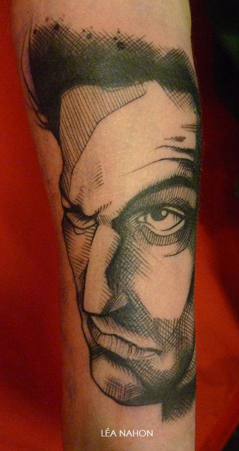 tatouage graphique portrait homme myst rieux inkage. Black Bedroom Furniture Sets. Home Design Ideas