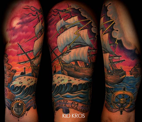 tatouage bateau qui vogue en mer inkage. Black Bedroom Furniture Sets. Home Design Ideas