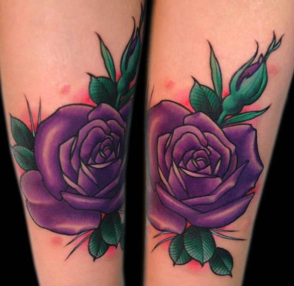 Tatouage fleur violette sur le bras inkage - Tattoo rose bras ...