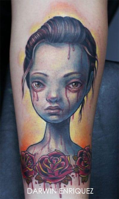 tatouage portrait bleu d une femme aux larmes de sang inkage. Black Bedroom Furniture Sets. Home Design Ideas