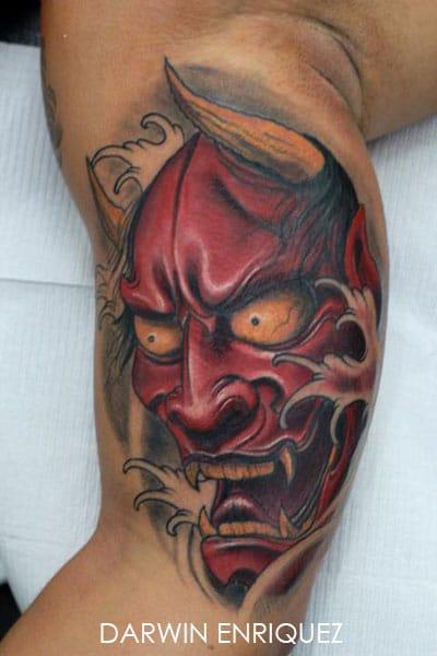 Tatouage Masque Japonais Rouge De Guerrier Inkage