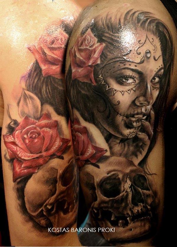 Tatouage d une santa muerte avec une fleur et une t te de mort inkage - Santa muerte tatouage signification ...