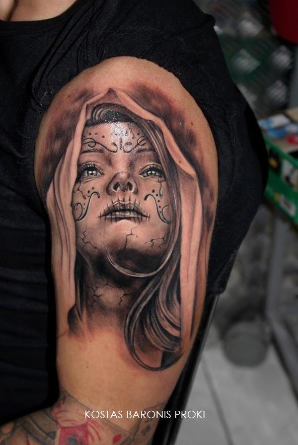 Tatouage d une santa muerte avec une capuche inkage - Santa muerte tatouage signification ...
