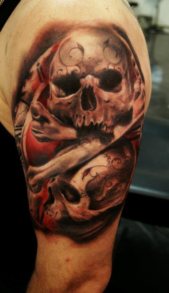 Tatouage Tete De Mort Et Os Inkage