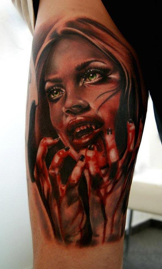 tatouage visage d une femme horrifique inkage. Black Bedroom Furniture Sets. Home Design Ideas