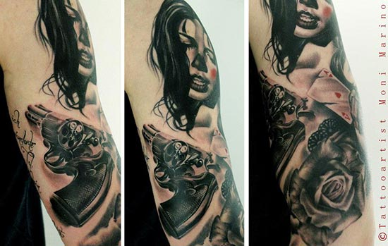 Tatouage portrait femme avec un revolver inkage - Tatouage pistolet femme ...