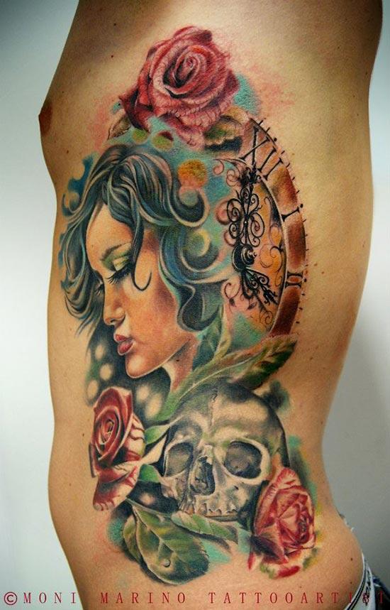 tatouage femme avec une t te de mort et des roses rouge inkage. Black Bedroom Furniture Sets. Home Design Ideas