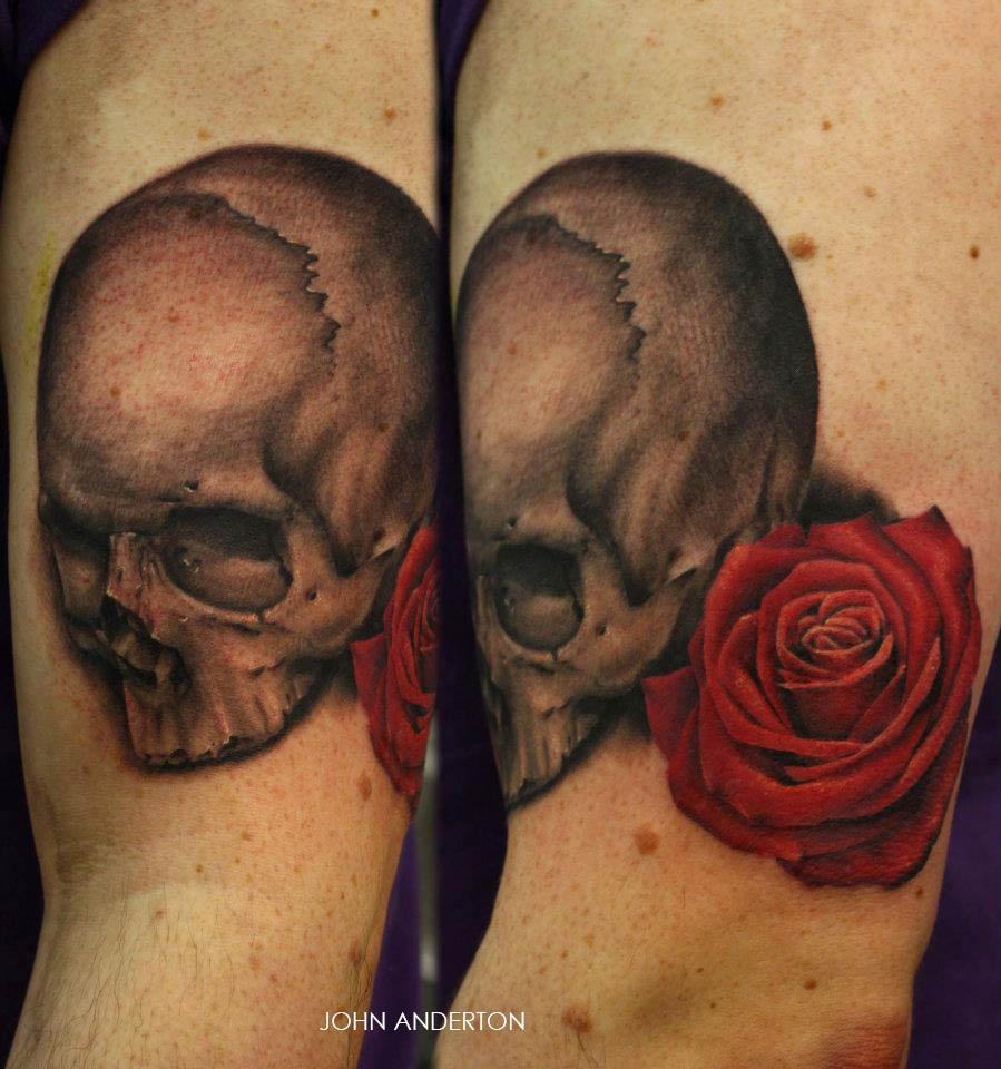 Tatouage Tete De Mort Avec Une Rose Rouge Inkage
