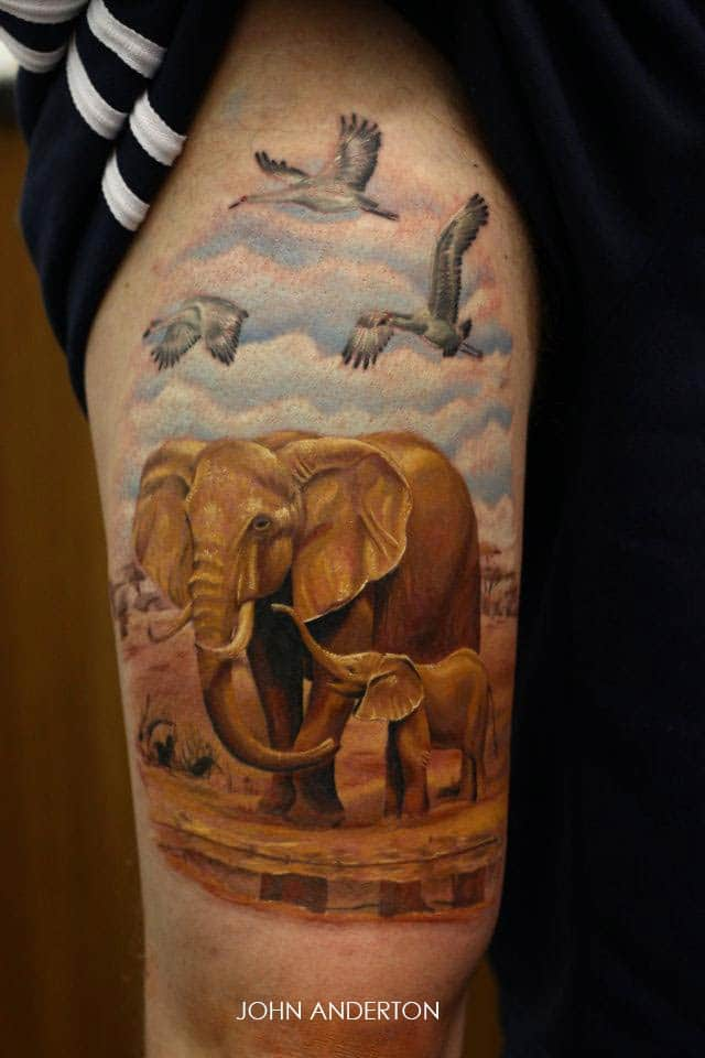 tatouage éléphant et oiseau – inkage