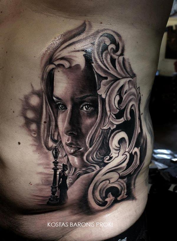 Tatouage portrait d une femme devant un quai inkage - Tatouage gitane signification ...