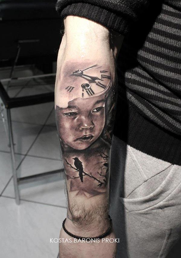 Tatouage Horloge Portrait D Enfant Et Oiseau Inkage