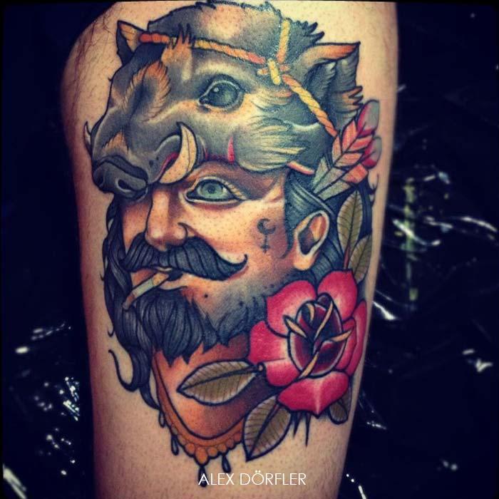tatouage homme avec rose et t te de sanglier inkage. Black Bedroom Furniture Sets. Home Design Ideas