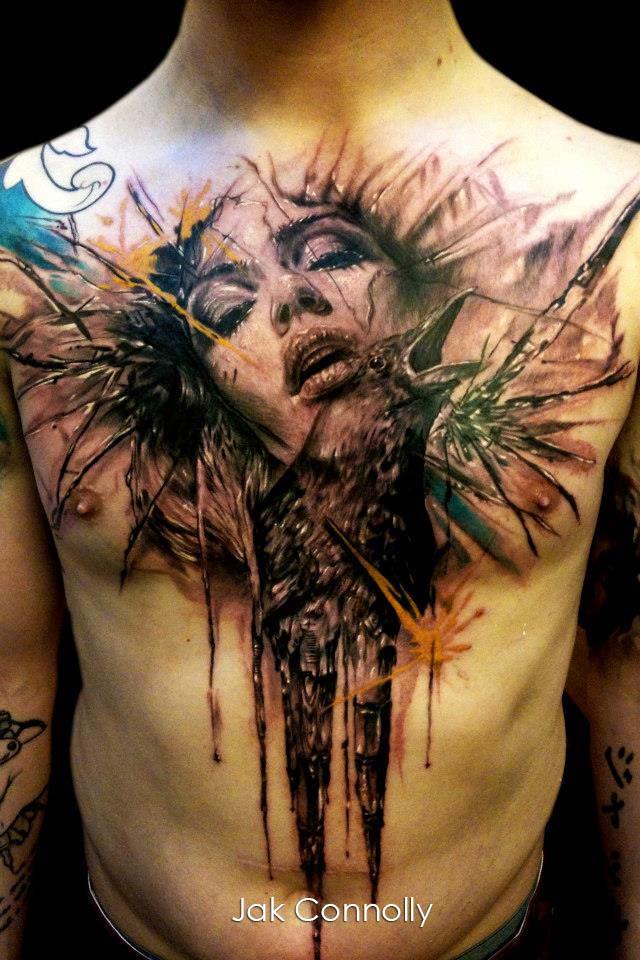 Tatouage Visage D Une Femme Avec Un Corbeau Inkage