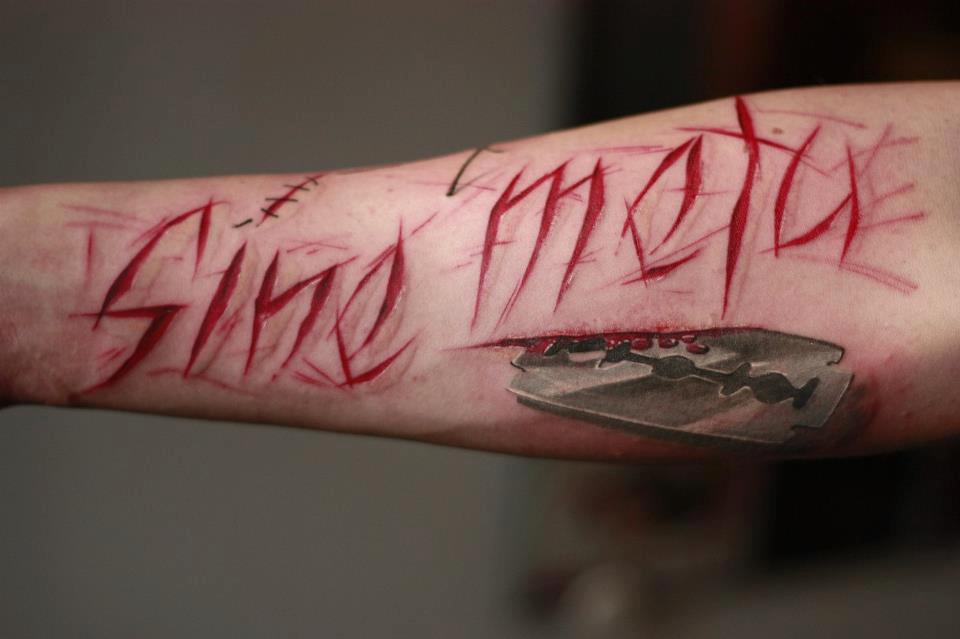 Tatouage lettrage écriture » sine meto » - Inkage