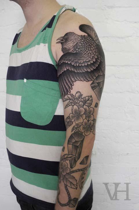 Tatouage Oiseau Et Fleur Graphique Inkage
