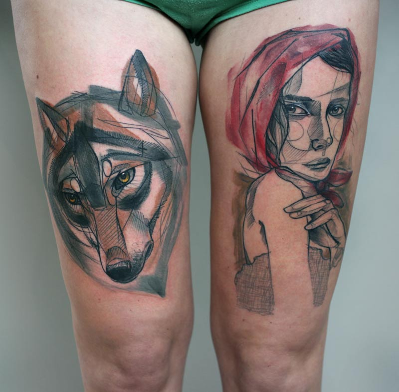 Tatouage t te de loup et femme rousse inkage - Tatouage loup femme ...