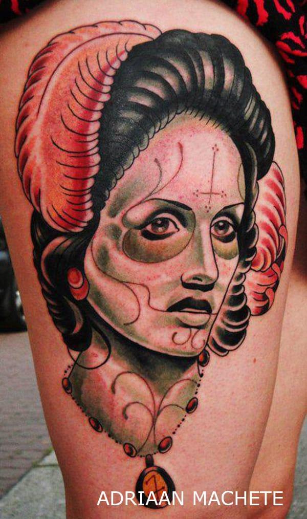 tatouage femme au visage macabre avec des plumes inkage. Black Bedroom Furniture Sets. Home Design Ideas