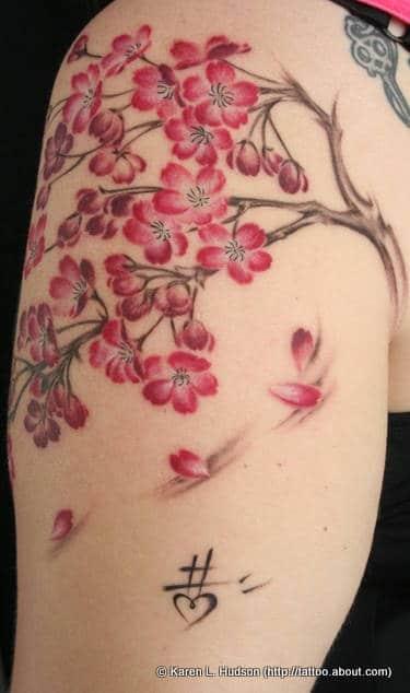 Un tatouage de branche de cerisier 10 inkage - Branche de cerisier japonais ...