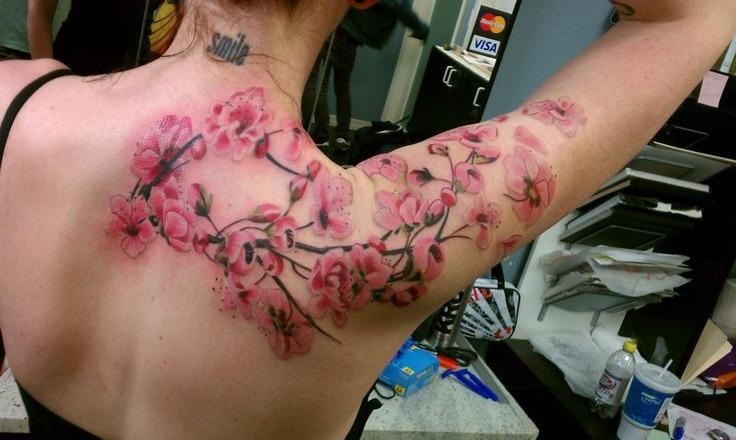 Un Tatouage De Branche De Cerisier 18 Inkage