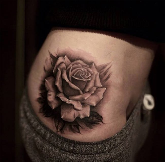 Tatouage De Rose Noir With Tatouage De Rose Noir Simple With