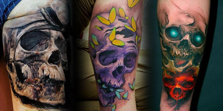 s lection de 25 superbes tatouages avec des cr nes inkage. Black Bedroom Furniture Sets. Home Design Ideas