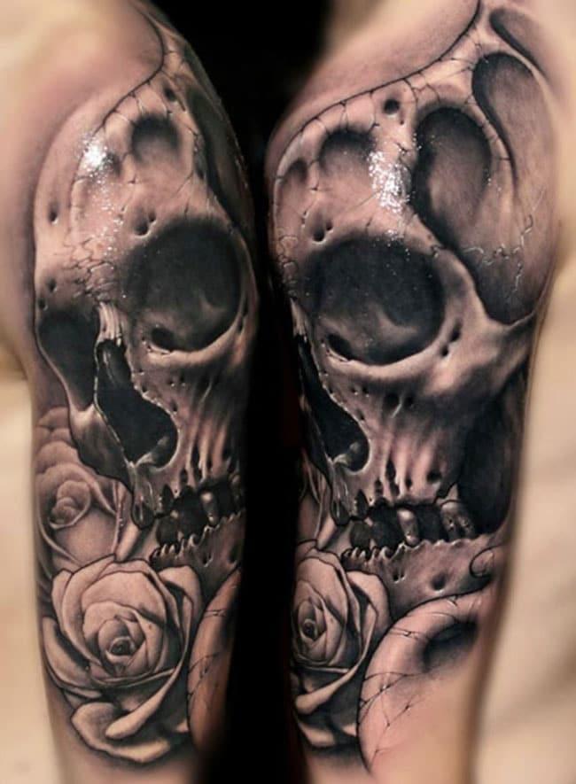 S lection de 25 superbes tatouages avec des cr nes inkage - Tete de mort avec fleur ...