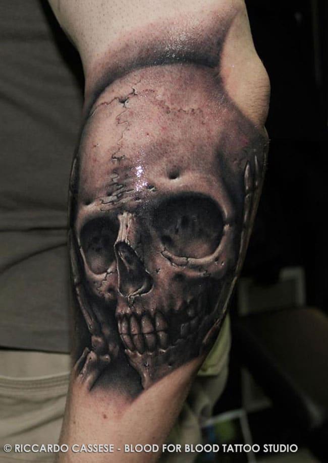 crâne demon tatouage